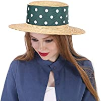 Straw Sun Hat, Women with Green Ribbon Boater Sunhat Pork Pie Lady 2018 New, (Color : Natural, Size : 57-58cm)