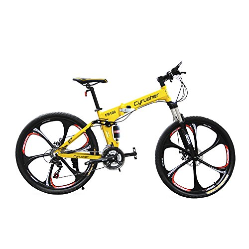 Cyrusher FR100 MTBブラック 自転車26インチ軽量折りたたみ式アルミフレーム マウンテンバイク24段変速ギア...