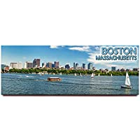 (Boston) - Boston panoramic fridge magnet Massachusetts travel souvenir