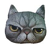 ネコ顔 クッションカバー 約40 x 35cm 「ボス」 グレー