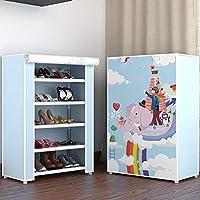 靴箱_シンプルに組み立てられたシューキャビネット、家庭用防塵多層ラック(59.5 * 29.5 * 87.5cm)の5層15対