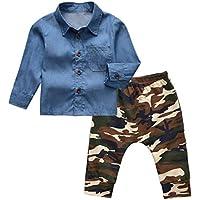 Camidy 1-5T Kids Boys Long Sleeve Denim Button Shirt Tops Camouflage Pants Clothes Set