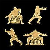相撲 蒔絵シール 「力士4人 金」