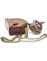 ネックレス日時計コンパス/ Hour Glass with Stamped Leather Carryケース