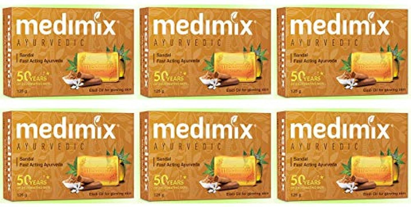 メタルライン罪突っ込むMEDIMIX メディミックス アーユルヴェディックサンダル 6個セット(medimix AYURVEDEC sandal Soap) 125g