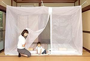 日本製 洗えるムカデ蚊帳 底付 6畳 (白)