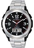[シチズン キューアンドキュー]CITIZEN Q&Q 電波ソーラー腕時計 SOLARMATE (ソーラーメイト) アナログ表示 クロノグラフ機能付き 10気圧防水 ブレスレットバンド ブラック MD04-205 メンズ