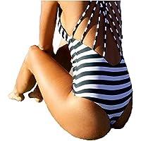 YideaHome レディースビキニ 水着ワンピース ボーダー柄 セクシー ストライプ水着 バックレス 着痩せ 体型カバー 女性用水着