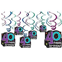 "Amscan The Party Continuous 40th Birthday Party Hanging Swirl Ceiling Decoration, Pack of 12, Multi, 9.5"" X 3.3"" [並行輸入品]"