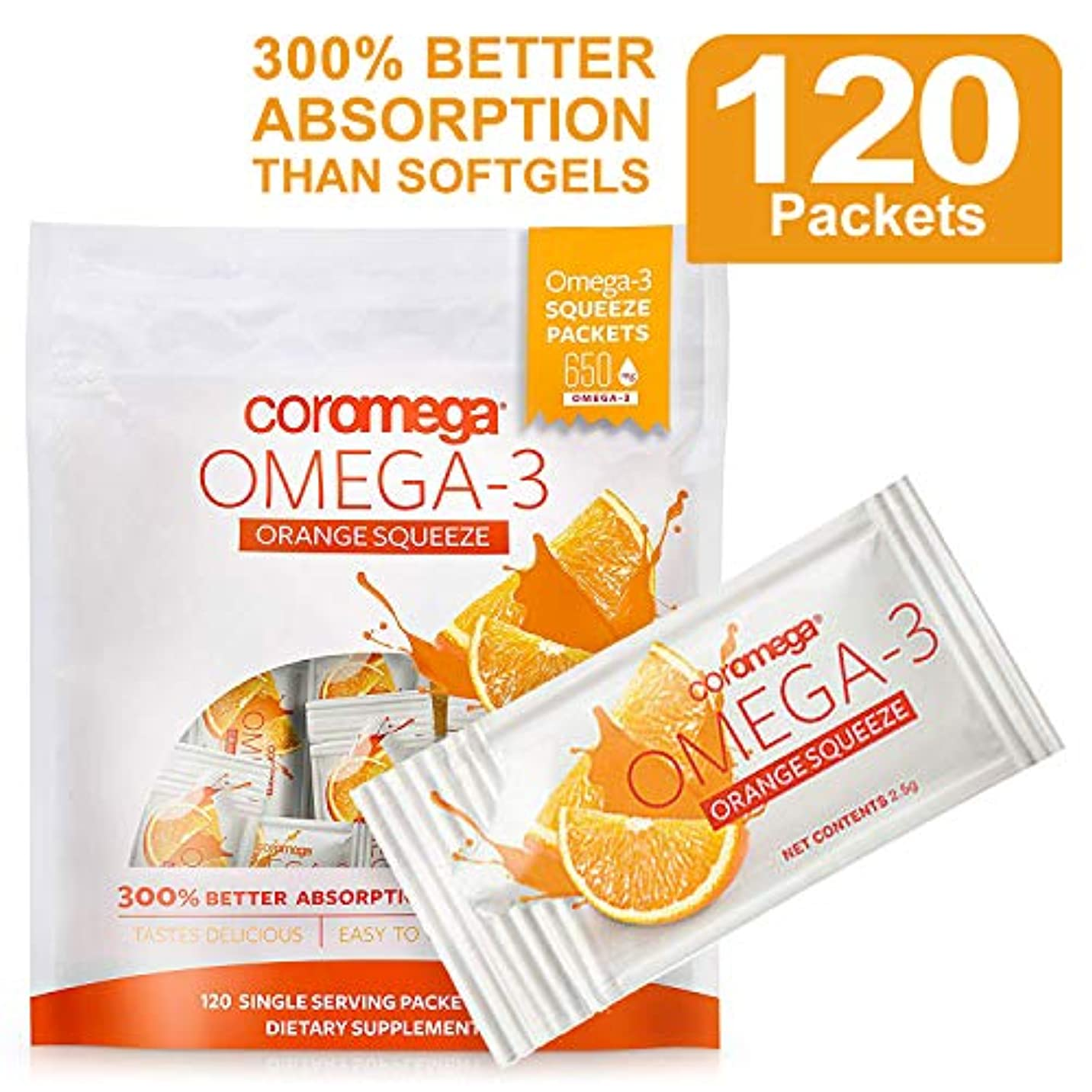 欠点ロマンス遠征Coromega, Omega3 Squeeze, Orange Flavor, 120 Squeeze Packets (2.5 g) Each