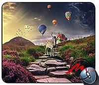 ZMvise鹿と気球ファッション漫画マウスパッドマットカスタム四角形ゲームマウスパッド