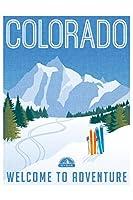 ラミネートコロラドへようこそAdventureレトロ旅行アートサインポスター12x 18インチ