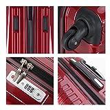 超軽量 2年保証 スーツケース TSAロック搭載 旅行バック トランクケース 旅行カバン (大型Lサイズ(長期滞在), ワインレッド)