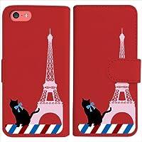 sslink iPhone5c iPhone 5c 手帳型 レッド ケース 猫 エッフェル塔(ピンク) パリ フランス ダイアリータイプ 横開き カード収納 フリップ カバー
