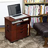 ノートPC、iPad、リモコン、雑誌まとめてスッキリ! 多機能サイドテーブル (ダークブラウン)