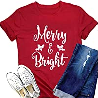 MAXIMGR Merry and Bright Christmas T Shirt Womens Leaf Graphic Letter Printed Shrot Sleve Holiday Tees Top