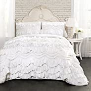 Lush Decor 16T000648 Kemmy 3 Piece Quilt Set, White, King