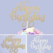 USFEEL BirthdayTopper Happy Birthday Cake Topper, Gold