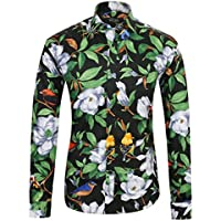 APTRO Men's Long Sleeve Shirt Luxury Printing Floral Casual Shirt
