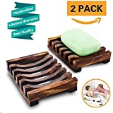 2 Piece Bathroom Wooden Soap Case Holder, Sink Deck Bathtub Shower Dish, Rectangular, Hand Craft, Natural Wooden Holder for Sponges, Scrubber