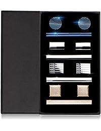DeDeStore カフスボタン ネクタイピン おしゃれ メンズ 高級 カフス ネクタイ 結婚式 ビジネス ギフトボックス付き 真鍮 (4 セット)