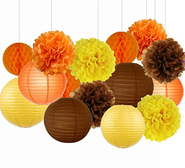 sogorge Fallパーティー装飾秋感謝祭装飾、Fall Harvest掛け装飾紙ポンポン混合提灯誕生日装飾、ベビーシャワー秋のパーティーSupplies