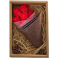 KIZAWA  枯れない花 ソープ フラワー 大切な人 へ 感謝 の 気持ち を 伝える 花束 ( 母の日 ・ バレンタイン ・ ホワイトデー ・ 入学 ・ 卒業 ・ 誕生日 ・ 結婚記念日 など 様々な お祝い の シーン に 最適 ) (7本, レッド)