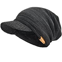 Mens Thick Fleece Lined Knit Slouch Beanie Hat with Visor