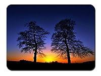 サンセット、木、グロー、シルエット パターンカスタムの マウスパッド 旅行 風景 景色 (22cmx18cm)