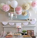 (ウエディングランド)WEDDINGLAND ペーパーポンポン ハニカムボール ペーパーフラワー バースデーパーティー 装飾 ウェディング 結婚式 アイテム 小物 インテリア お祝い ベージュ/ピンク/オフホワイト 6個セット