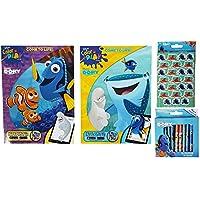 キッズアクティビティキットfor旅行、ホーム: Dory the Blue Tang魚テーマ4項目のバンドル: 2カラーリングブック、1パッケージ1パックof 24クレヨンの96ステッカーbyミックス