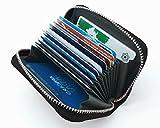 牛革 クレジット カードケース 大容量 カードホルダー じゃばら 本革 カード 入れ (ブラック)