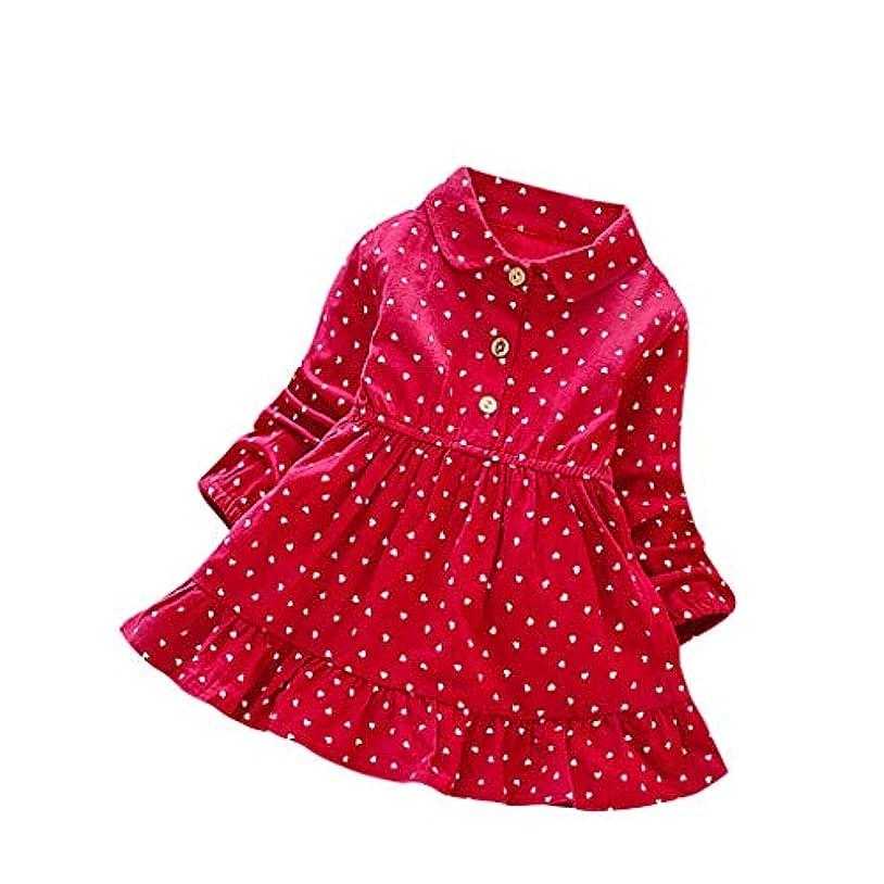 寄託ボートスカルク女の子ドレス 秋冬韓国小さな女の子レース長袖ボタンプリンセススカート子供のスカート誕生日 舞台 パーティー 七五三 学園祭 文化祭 写真撮影(1歳-8歳)