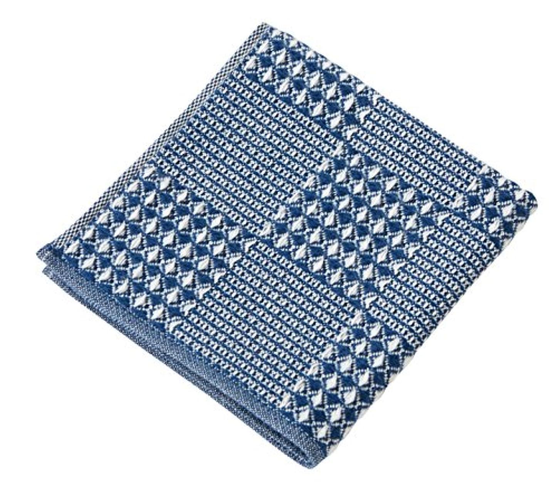 アイロニー困った完全に乾く楠橋紋織 ハンドタオル ネイビー 約25cm×25cm ハンカチタオル わた音 ブロックワッフル 1-65612-86-KON