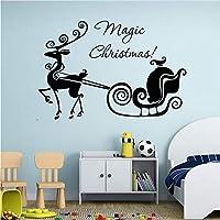 Wuyyii 45×58センチハロウィンマジッククリスマスキャリッジウォールステッカービニールホーム壁の装飾デカールウォールステッカーツリー家の装飾リビングルーム