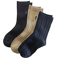 POLO RALPH LAUREN(ポロ ラルフローレン) ミドル丈ワンポイントソックス3足セット(Black/Beige/Navy)/靴下 14-20(約22-25cm相当)[並行輸入品]