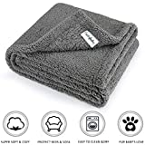 furrybaby Premium Fluffy Fleece Dog Blanket, Soft and Warm Pet Throw for Dogs & Cats (Medium 32x40'', Grey)