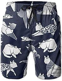 猫 折り紙 メンズ サーフパンツ 水陸両用 水着 海パン ビーチパンツ 短パン ショーツ ショートパンツ 大きいサイズ ハワイ風 アロハ 大人気 おしゃれ 通気 速乾