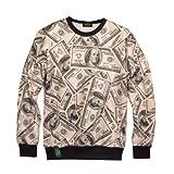 (ピゾフ)Pizoff メンズ Tシャツ 長袖 トレーナー ドル柄 ストリート系 ファッション ヒップホップスタイル プルオーバー Y0351-5-L
