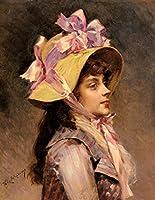 ¥5K-200k 手書き-キャンバスの油絵 - 美術大学の先生直筆 - portrait Of A Lady In Pink Ribbons realist lady Raimundo de Madrazo y Garreta Famous 絵画 洋画 複製画 ウォールアートデコレーション -サイズ12