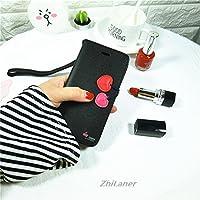 ZhiLaner iphone7カバー スマートフォンケース 手帳型 レディース おしゃれ 女性向け かわいい サクランボ アイフォン6 カバー アイフォン6plus ケース 財布型 カード入れ ストラップ付き (iPhone6/6s, ブラック)