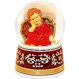 20033 【Minium Collection】 Snowdome ミュージカルスノーグローブ。赤。ハープと天使。【直径】10cm
