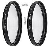 hdstars 2- Pack 52mm UV保護フィルター紫外線フィルターfor Nikon d3000、d3100、d3200、d5000、d5100、d5200、d7000、d7100、d7200..