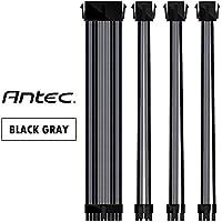 Antec電源スリーブ付きケーブル24ピン/ 8ピン 8ピン6ピンPCI-E延長ケーブルキット長さ300mm、 黒灰(11.8inch/30cm) 4本1セット