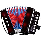 CAHAYA ミニ アコーディオン 7鍵 2ベース 子供用 楽器 音楽 玩具 初心者 大人も楽しめます ブラック
