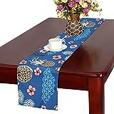 LKCDNG テーブルランナー ブルー きれい 和風の花 クロス 食卓カバー 麻綿製 欧米 おしゃれ 16 Inch X 72 Inch (40cm X 182cm) キッチン ダイニング ホーム デコレーション モダン リビング 洗える