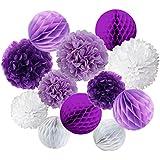Recosis ペーパーフラワー フラワーポンポン ハニカムボール 飾り付け 結婚式 誕生日 飾り付け 紙花 - パープル、モーブとホワイト