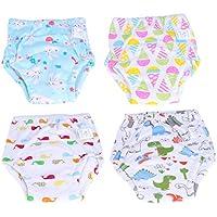 Milisten 4pcs Baby Potty Training Pants 6 Layers Gauze Washable Cartoon Dinosaur Underwear Diapers Nappy Panties for Infants Toddler (Size L)