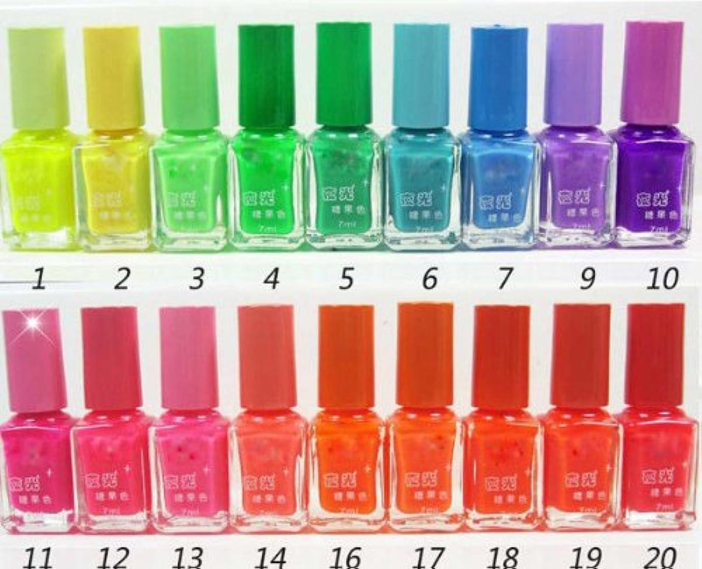 コアプロフェッショナル戻る1色1本のプロ7ミリリットル蛍光ネオンネイルアートポリッシュグローダークマニキュア液20色 (BK10)