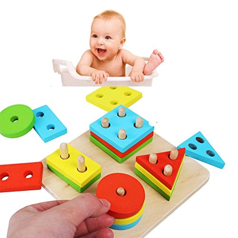 Looching 1木製教育Preschool形状色認識DIY幾何ボードブロックスタックソートChunkyパズルおもちゃfor子供赤ちゃん幼児用男の子女の子誕生日クリスマスギフトセット( Age 3 + )